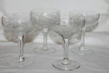 4 VINTAGE CAMBRIDGE ETCHED GLASS FLOWERS DAISY AND LEAVES WINE CHAMPAGNE GLASSES