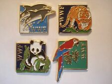 WWF PANDA TIGER PARROT DOLPHIN WILDLIFE FUND OLD PIN BADGE JOB LOT BUNDLE SET 4