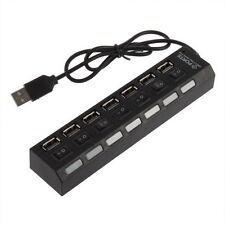 Mini Black 7Port USB 2.0 High Speed HUB ON/OFF Sharing Switch New UL