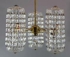 RARE! Antique Signed WATERFORD Crystal & Brass Chandelier Light Ceiling Fixture