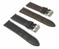GENUINE LEATHER MENS WATCH REPLACEMENT CROCO STRAP BAND STAINLESS STEEL BUCKLE