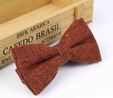 New Vintage Rusty Brown Tweed/ Wool Bow Tie. Great Reviews. U.K. Seller