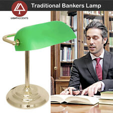 Metal Bankers Lamp, Light Accents 2670-10 Desk Lamp with Green Glass Shade