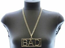 "Gold ""BAD"" ID Plate WORD Statement Necklace Hip-Hop CHUNKY Metal Link Chain~24"""