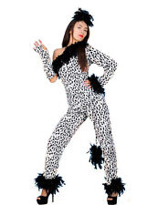 LEOPARD PRINT 4 PIECE BLACK & WHITE LADIES CAT FANCY DRESS OUTFIT SIZE 14-16