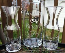 Etched Glass  Personalized  Sand Ceremony Unity Set  Vases Wedding Decanter