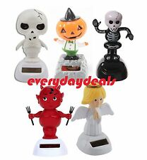 Set of 5 ~ Solar Powered Bobble Head Dolls Dancing HALLOWEEN Party Toy Figure