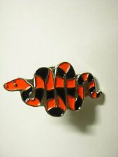 Snake pin badge. Red and black coloured snake. Rattler Cobra Python. Limited