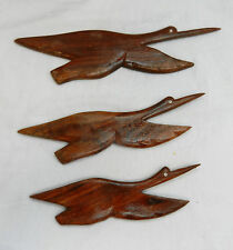 Set of Three Flying Wooden Birds for the Wall - BNIB