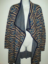NWT Women's Lucky Brand Aztec Open Cardigan Sweater Wrap Blue Large NEW