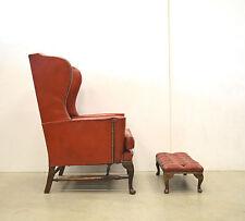 Chesterfield WING Chair Ohrensessel & Hocker // LEDER Sessel VINTAGE // 60er