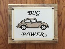 Volkswagen VW Bug Power Beetle Bus German Automotive Vintage Metal & Wood Sign