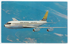 Continental Airlines Vintage Postcard - 1960's CAL Boeing 720B Jet Airplane B720