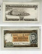 1954 AUSTRALIA TEN SHILLINGS CURRENCY NOTE XF AU RARE