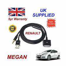 Renault Megan Sistema De Audio iPhone 3GS 4 4S iPod USB & 3.5mm Cable Aux negro