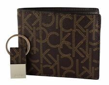 CALVIN KLEIN MEN'S CK LOGO BIFOLD WALLET BROWN GIFT BOX WITH KEY FOB SET 79544