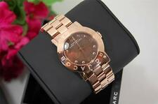 NIB MARC JACOBS AMY ROSE GOLD & BROWN MOTHER OR PEARL WOMENS WATCH MBM8610 $225