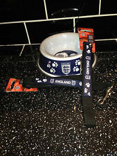 2 ENGLAND DOG BOWL LEAD AND COLLAR SETS BARGAIN BUY OFFICIAL ENGLAND