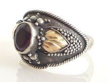 Vintage Garnet Sterling Silver Ring Sz 8 Antique Repousse 925