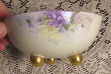 Hand Painted Footed Bowl Violet Flowers w/ Gold Accent by Uno Favorite Bavaria