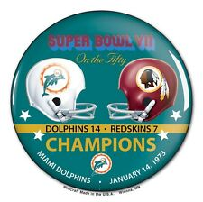 MIAMI DOLPHINS WASHINGTON REDSKINS SUPER BOWL VII CHAMPS ON THE FIFTY BUTTON