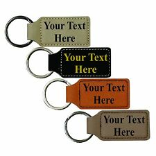 Leather Key Fob Chain Custom Engraved and Personalized with Your Text