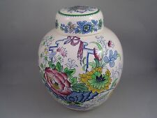 "MASONS BLUE STRATHMORE LARGE 9"" GINGER JAR, ( NO CRAZING). LID A/F."