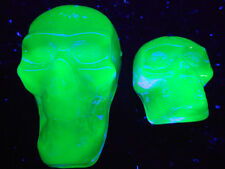 Cobalt Vaseline glass Gothic skull heads uranium Halloween skeleton goblin ghost