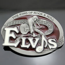 Elvis Presley Western Silver Guitar King of Rock Roll Metal Enamel Belt Buckle
