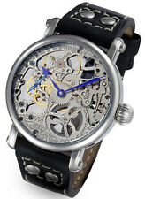 Rougois Mechanique Silver Tone Skeleton Watch Leather Black Rivet Band
