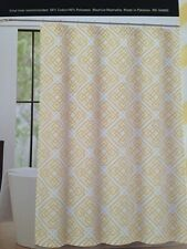 "Max Studio Fabric Shower Curtain Puzzle Geometric Yellow & White Lattice 72""x72"""