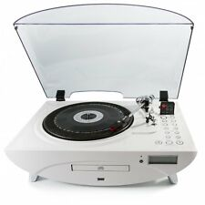 GPO JIVE VINYL RECORD PLAYER - WHITE - CD PLAYER - USB - MP3
