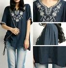 Women Embroidered Floral Peasant Vintage Ethnic Tunic Boho Hippie Blouse Free Sz