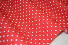Red & White Match Stick Polka Dots Print Poly Cotton Fabric Per Fat Quater