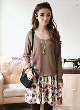 Japan 2pc Relaxed Knit Shirt Floral Drawstring Swing Dress! Coco