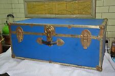 Vintage Luggage Footlocker Trunk  Storage Travel Trip Dorm Suitcase Locker Blue