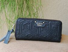 NWT GUESS G CUBE QUILT Zip Around Wallet Wristlet Color Black