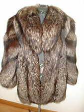 Beautiful Women's Custom Full Skins Natural Silver Fox Fur Leather Jacket Medium