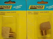 """FUEL FITTING 90 DEGREE ELBOW 3/8"""" PIPE BRASS 20841 PAIR FUEL PARTS BOAT TANK"""