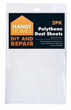 2PK POLYTHENE DUST SHEET COVER PAINT PROTECTOR CARPET FURNITURE PLASTERING & DIY