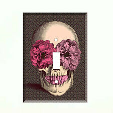 Sugar Skull Pink Flower Single Light Switch Plate Wall Cover Room Decor