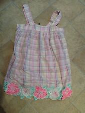 Manoush Cotton Mini Dress Top Pink Check Silk Floral Appliqué Size 38 10