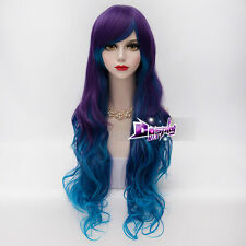 Blue Mixed Purple Long Hair for VOCALOID LUKA Lolita Ombre Anime Cosplay Wig