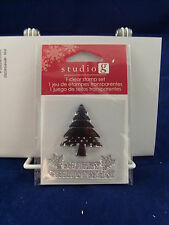 NEW STUDIO G CLEAR STAMP SET MERRY CHRISTMAS TREE HOLIDAY VC0057