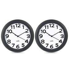Atomic Wall Clock Silent Non Ticking Battery Operated Quart Large Number 2 Pack