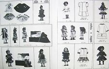 ALL BISQUE MIGNONETTE  DOLL CLOTHES PATTERN 12 DRESSES,COAT,CHEMISE,NIGHTGOWN +