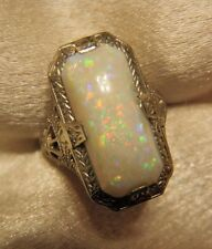 GORGEOUS ANTIQUE OSTBY BARTON 14K WHITE GOLD NATURAL OPAL FILIGREE RING
