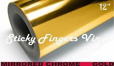 """5 ft Roll GOLD MIRRORED Chrome ADHESIVE Outdoor Vinyl 12"""" Crafts DECALS"""