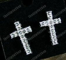 CLIP ON rhinestone CRYSTAL CROSS diamante stud earrings