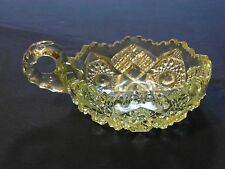 BEAUTIFUL CUT GLASS CANDY DISH SCALLOPED EDGE WITH HANDLE EXCELLENT CONDITION!